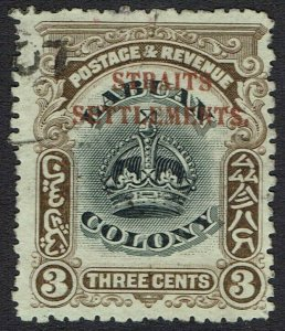 STRAITS SETTLEMENTS 1906 CROWN 3C USED