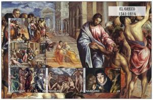 NAAVLAND SHEET IMPERF CINDERELLA ART PAINTINGS EL GRECO