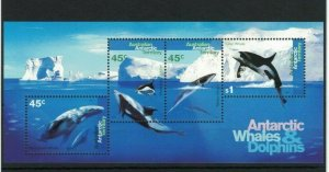 AAT63) Australian Antarctic Territory 1995 Whales & Dolphins Minisheet MUH