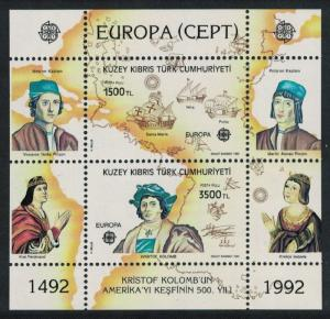 Turkey 500th Anniversary of Discovery of America by Columbus 2v Sheetlet