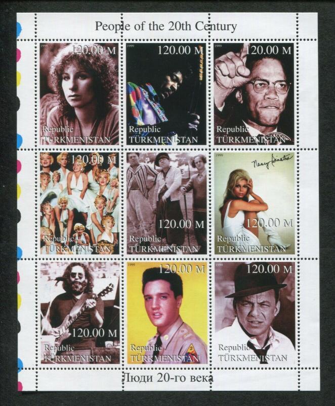 Turkmenistan Commemorative Souvenir Stamp Sheet - People of The 20th Century