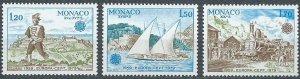 Monaco 1979 #1178-80 MNH. Train, ship, Europa
