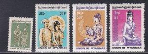 Burma #  301-303, Burmese People, NH, 1/2 Cat