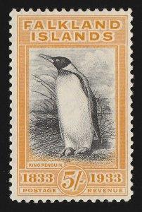 FALKLAND ISLANDS 1933 Centenary 5/- black & yellow Penguin. MNH **