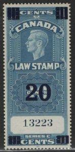 $Canada Sc#FSC22 M/NH/XF Law Stamp 20c