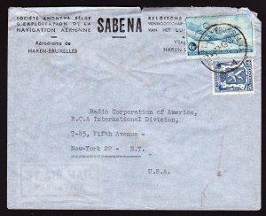 SABENA BELGIUM TO RCA INTL NY AIRMAIL COVER - 1949