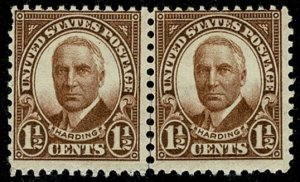 U.S.A. 1930 1 1/2c BROWN UNUSED (MH) PAIR SG685 Wmk.none P.11.5x10 SUPERB