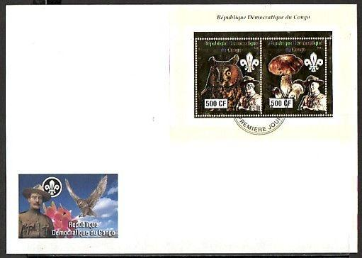 Congo, Dem., 2004 issue. Baden Powell, Owl & Mushroom. Large First day cover. #1