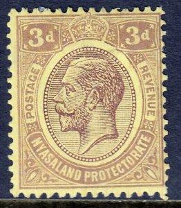 NYASALAND PROT. — SCOTT 29 (SG 105) — 1921 3d KGV ISSUE — MH — SCV $14