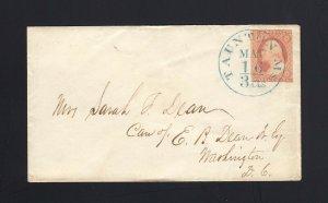 MASSACHUSETTS: Taunton, MA 1850's #11 XF BLUE 3cts Integral Rate CDS