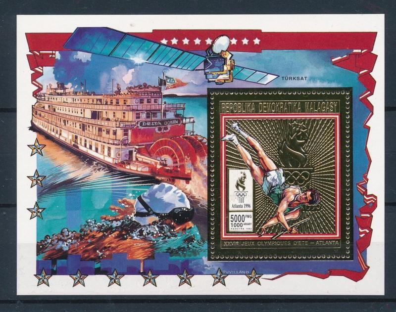 [55381] Madagascar 1994 Olympic games Pole Vault Swimming Ship MNH Sheet