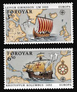 Faroe Is. 500th Anniversary of Discovery of America by Columbus 2v SG#224-225