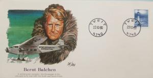 L) 1980 NORWAY, BERNT BALCHEN, PILOT AVIATION, LIGHTHOUSE, FDC