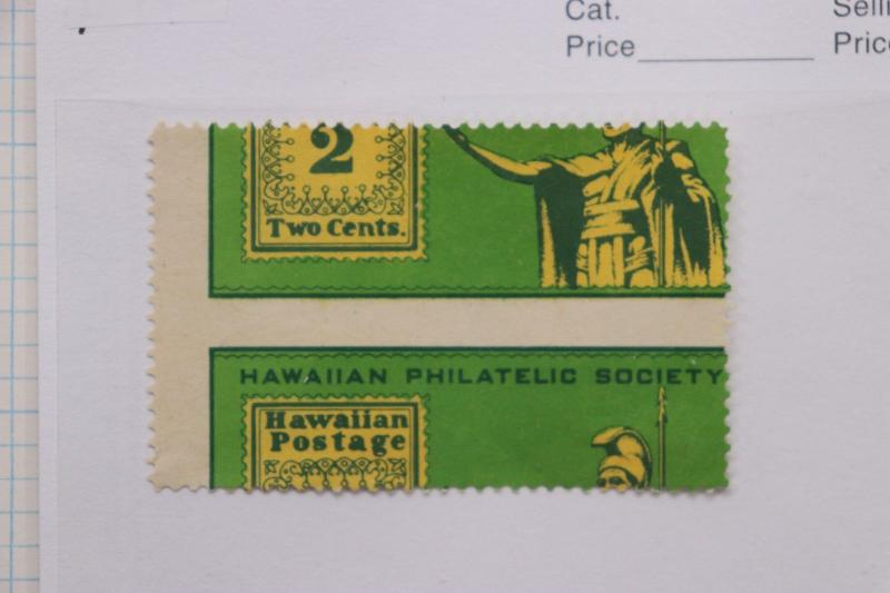Hawaiian Philatelic society Stamp club 2c ad label EFO perf error misperf DM