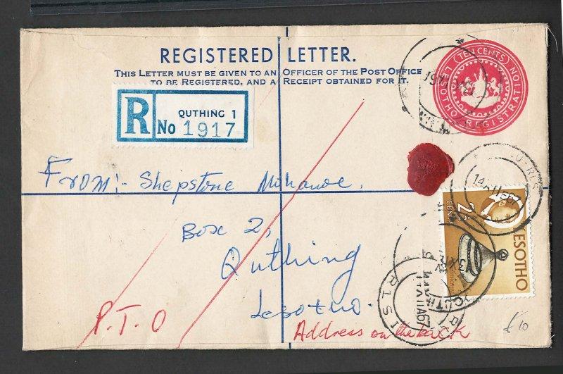 Lesotho 1967 10c Registered Letter uprated 2½c QUTHING 1 - MASERIA, addresse...
