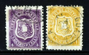 GUATEMALA 1873 The Arms Issue 4 Reales Mauve & 1 Peso Yellow SG 5 & SG 6 VFU