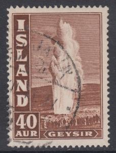 Iceland Sc 206 used 1939 40a dark brown Geyser F-VF