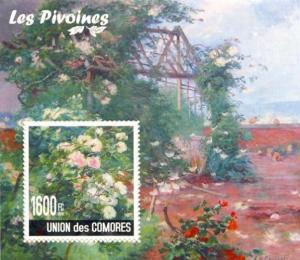 COMORES 2010 SHEET PEONIES LES PIVOINES FLOWERS FLEURS FLORES cm10114b