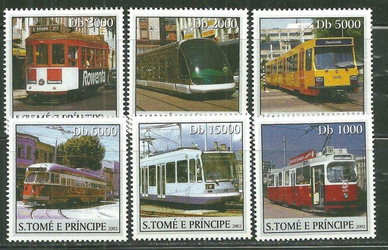 St. Thomas & Prince Islands MNH 1562A-F Trams & Streetcars SCV 9.00