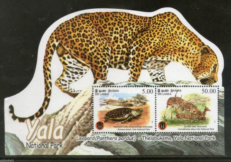Sri Lanka 2013 Yala National Park Leopard Turtle Deer Odd Shaped M/s MNH # 6152