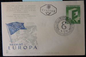 Austria 1959 FDC europa flags maps posthorn vienna pm good used #2