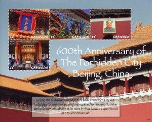 Grenada Architecture Stamps 2021 MNH Forbidden City 600th Ann Chairman Mao 4v MS