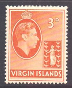 Virgin Islands BVI Scott 81 - SG115a, 1938 George VI 3d MH*