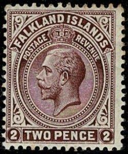 FALKLAND ISLANDS KG V 1912-20 2d MAROON UNUSED SG62b Wmk.MC CA P14x14 (LINE) VGC