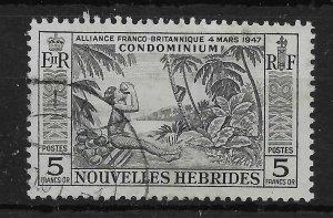 NEW HEBRIDES (FRENCH) SGF106 1957 5f BLACK USED