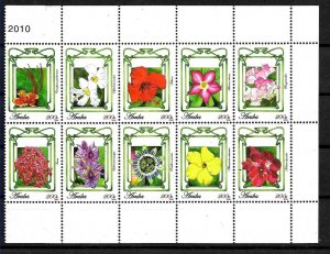 #8090 ARUBA 2010 FLORA FLOWERS MINISHEET (HALF) YV 488-97  MNH