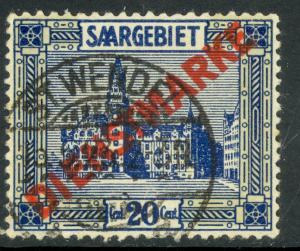 SAAR 1922-23 20c SAARBRUCKEN CITY HALL OFFICIAL Sc O7 VFU