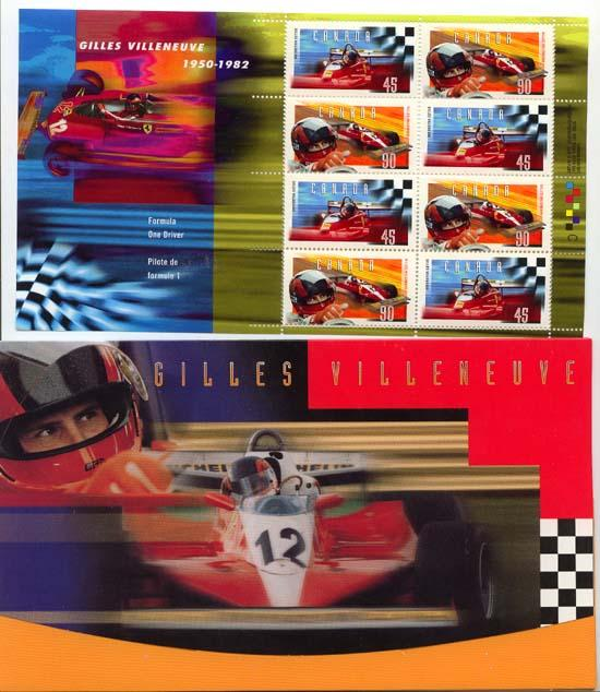 Canada - 1997 Gilles Villeneuve Souvenir Sheet of 8 mint