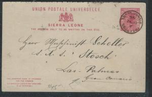SIERRA LEONE (P3005B) 1898 QV 1D REPLY PSC TO CANARY ISLANDS, NO MSG