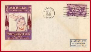 US FDC #775 P19 Michigan Centenary ~ Ioor Cachet