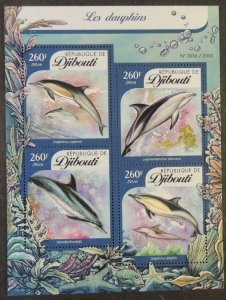 Djibouti 2016 dolphins marine life mammals m/sheet mnh #2