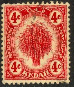 MALAYA KEDAH 1921-36 4c Carmine SHEAF OF RICE Pictorial Sc 28 VFU