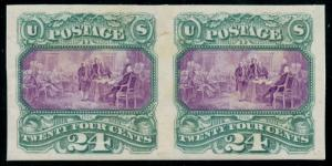 #120TC3 PLATE ON INDIA PAPER ON CARD PAIR GREEN & REDDISH LILAC CV$1,500 WLM2152