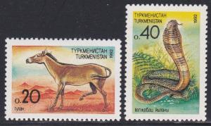 Turkmenistan #29-30 F-VF Mint LH * Horse, snake