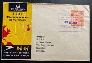 1958 Caracas Venezuela First Flight Airmail Cover To Hamilton Bermuda BOAC