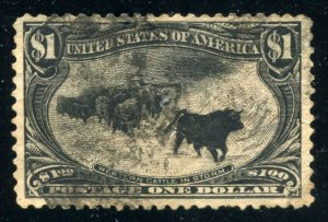 US Scott#292 VF centered $1 1898, Trans-Miss Cattle in Storm ⭐⭐⭐⭐⭐⭐