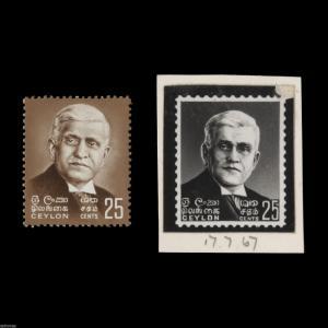 Ceylon 1968 (Proof) 25c Baron Jayatilleke Birth Centenary bromide ex BW records