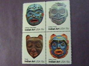U.S.# 1834-1837(1837a)-MINT/NEVER HINGED--INDIAN ART/FACE MASKS--BLOCK OF 4-1980