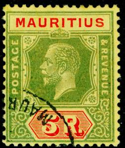 MAURITIUS SG240, 5r green & red/yellow, VERY FINE USED. Cat £100. WMK SCRIPT.