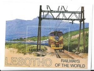 Lesotho #458 Railways of the World S/S of 9   (MNH) CV $2.25