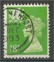 GREAT BRITAIN, WALES, Machins, 1991, used 18p brt yel grn, Scott WMMH34