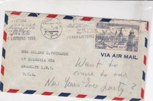 czechoslovakia 1956 airmail stamps cover ref 19646