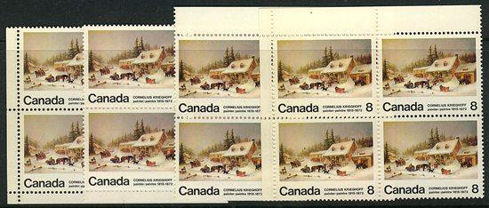 Canada USC #610p & 610pi 1972 Krieghoff Tagged - MS Corner Blocks - VF-NH