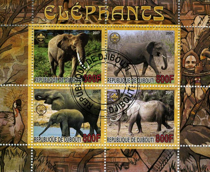 Djibouti 2007 Elephants Sheet (4) Perforated Cancelled Used