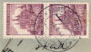 BÖHMEN u. MAHREN 1941  SBOROWITZ-KREMSIER  TPO n°597a bilingual CDS on 2xMi.27