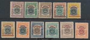 1906-07 Straits Settlements Set of 11 O/P on Labuan SG 141-151 MH